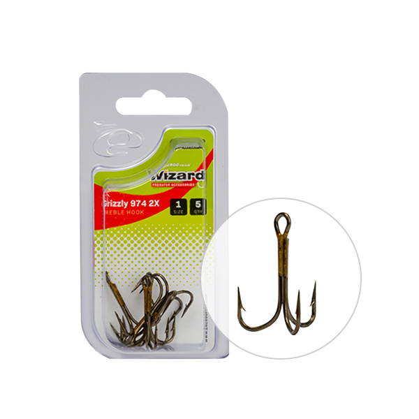 WIZARD GRIZZLY 974M 2X BRONZE TREBLE HOOK